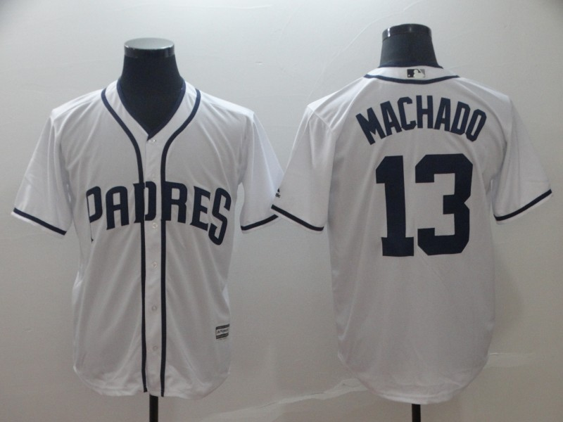 Padres 13 Manny Machado White Cool Base Jersey