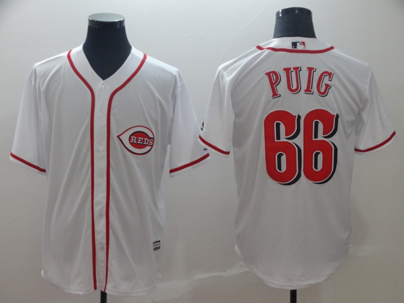 Reds 66 Yasiel Puig White Cool Base Jersey