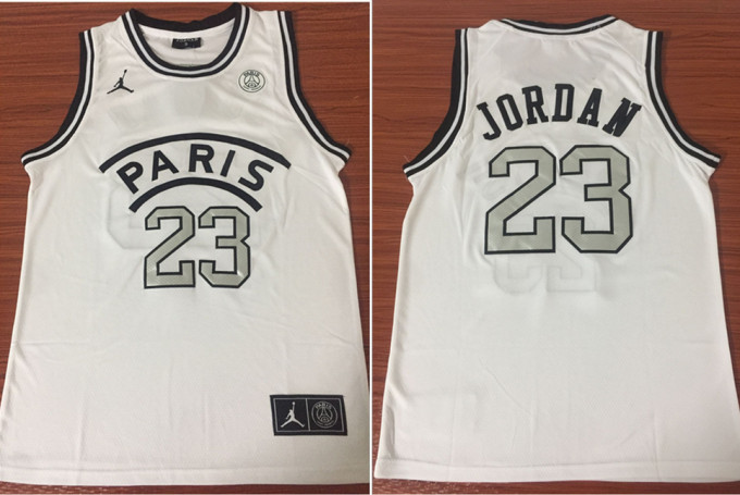Paris Saint-Germain 23 Michael Jordan White Fashion Jersey