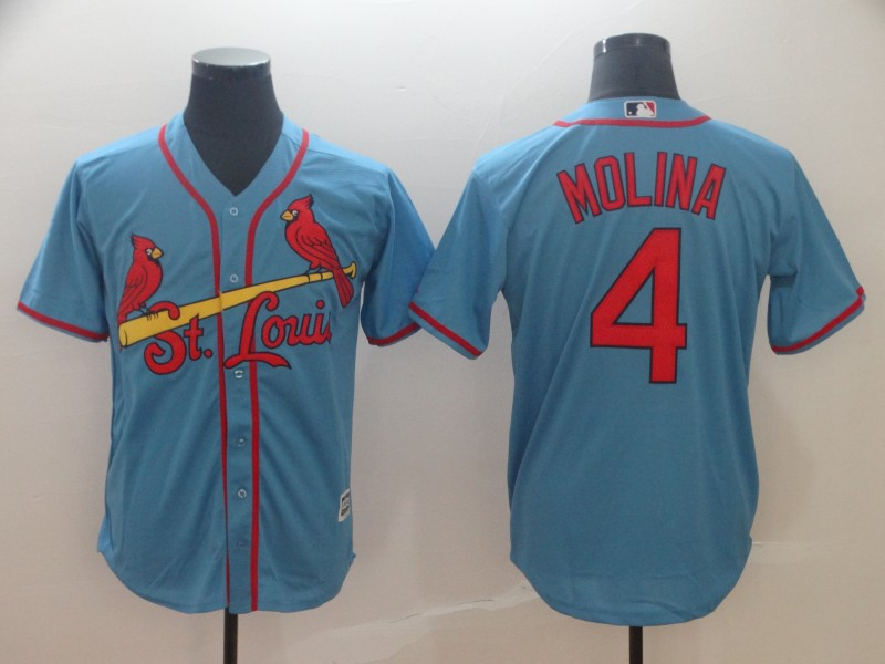 Cardinals 4 Yadier Molina Light Blue Cool Base Jersey