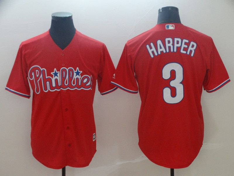 Phillies 3 Bryce Harper Scarlet Cool Base Jersey