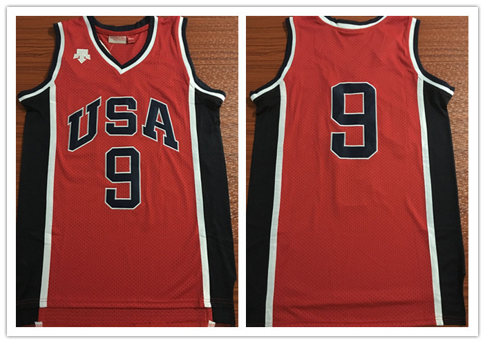 Olympics Team USA #9 Red Stitched Basketball Jersey