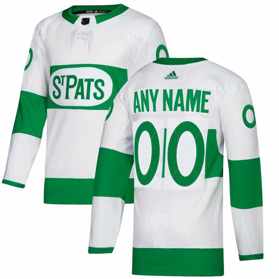 Maple Leafs White Men's Customized 2019 St. Patrick's Day Adidas Jersey