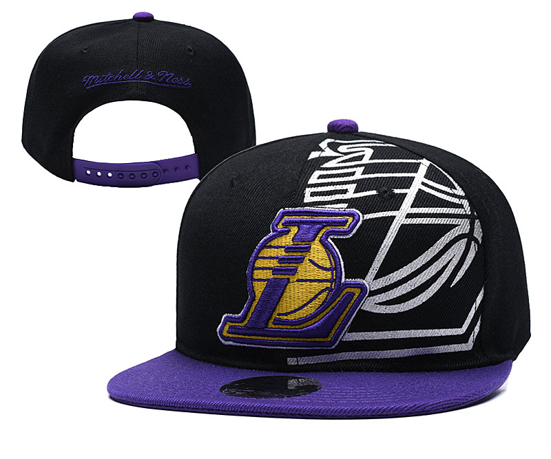 Lakers Team Logo Black Purple Mitchell & Ness Adjustable Hat YD