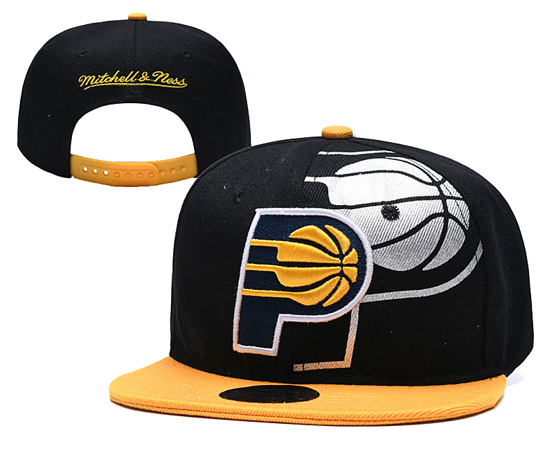 Pacers Team Logo Black Mitchell & Ness Adjustable Hat YD