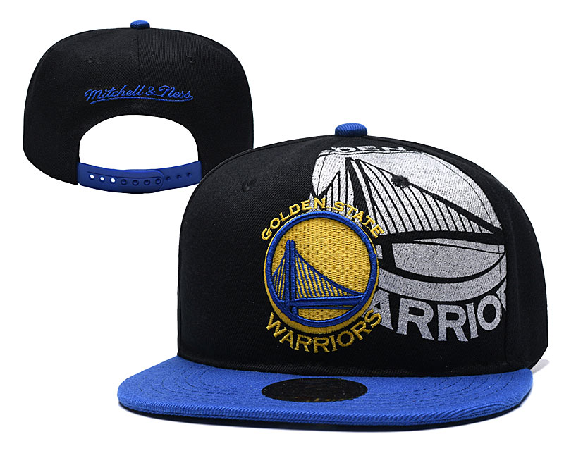 Warriors Team Logo Black Mitchell & Ness Adjustable Hat YD