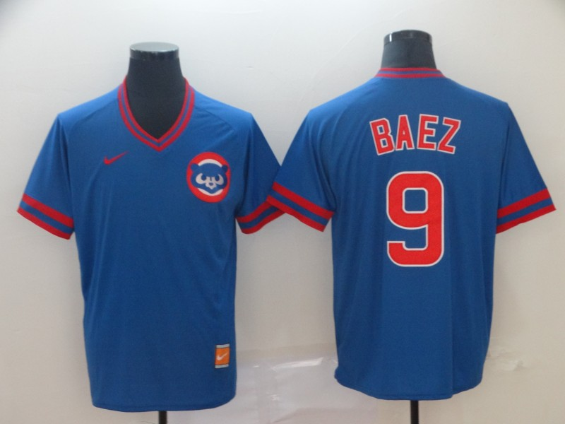 Cubs 9 Javier Baez Blue Throwback Jersey
