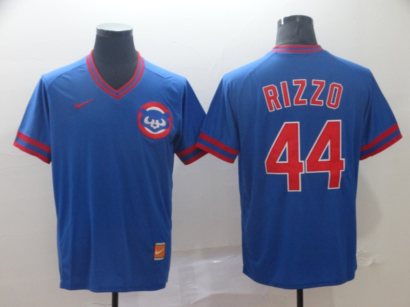 Cubs 44 Anthony Rizzo Blue Throwback Jersey