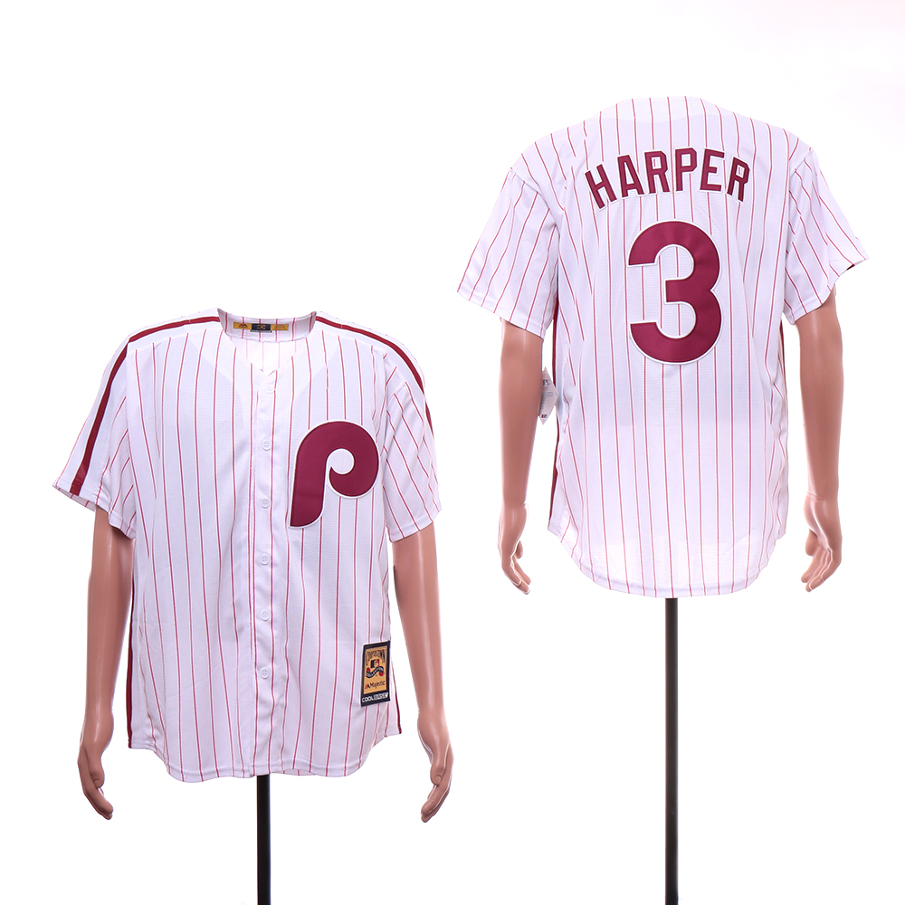Phillies 3 Bryce Harper White Cooperstown Collection Jersey