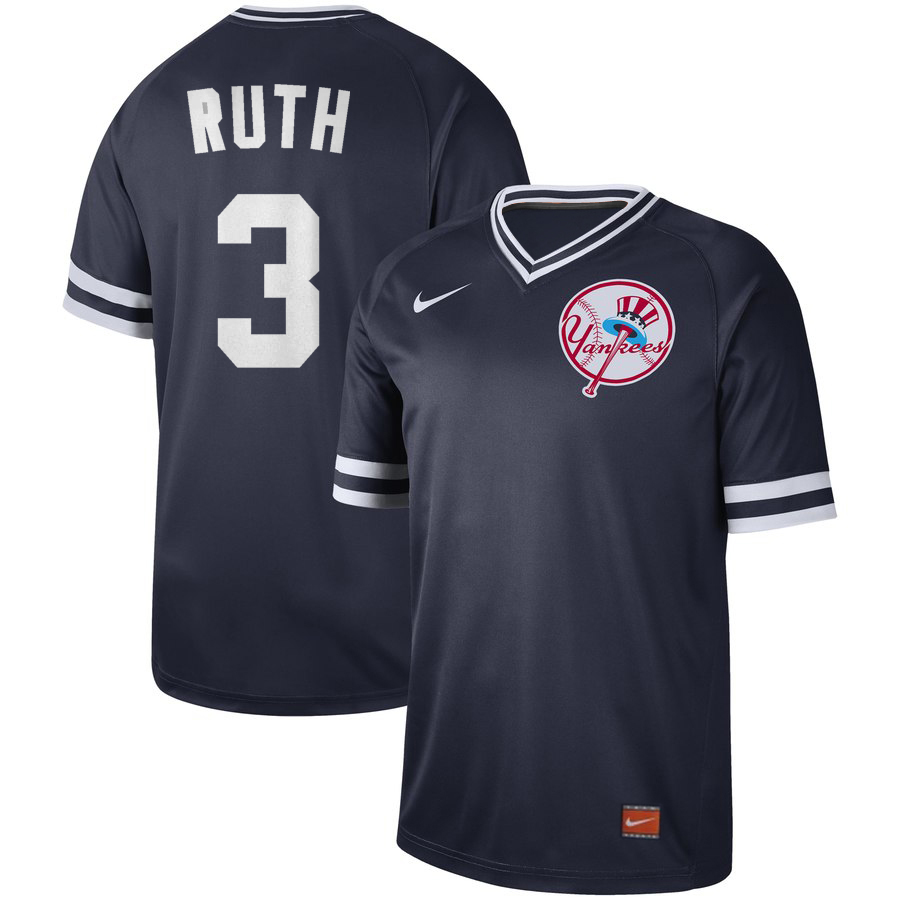 Yankees 3 Babe Ruth Blue Throwback Jersey