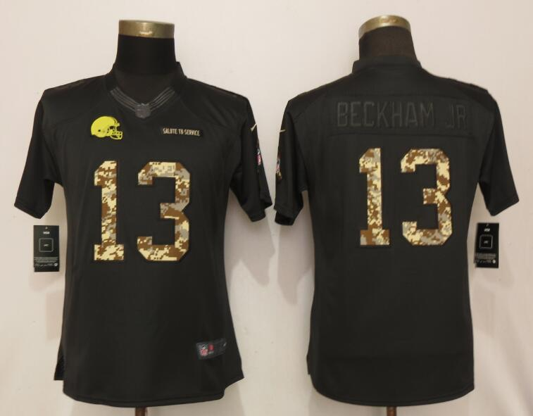 Nike Browns 13 Odell Beckham Jr Black Camo Women Salute to Service Limited Jersey