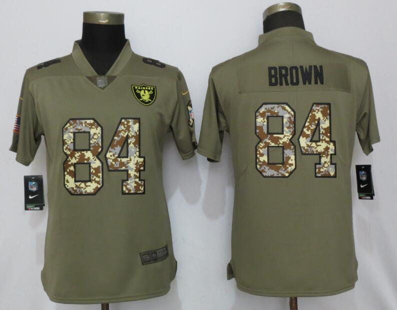 Nike Raiders 84 Antonio Brown Olive Camo Women Salute to Service Limited Jersey