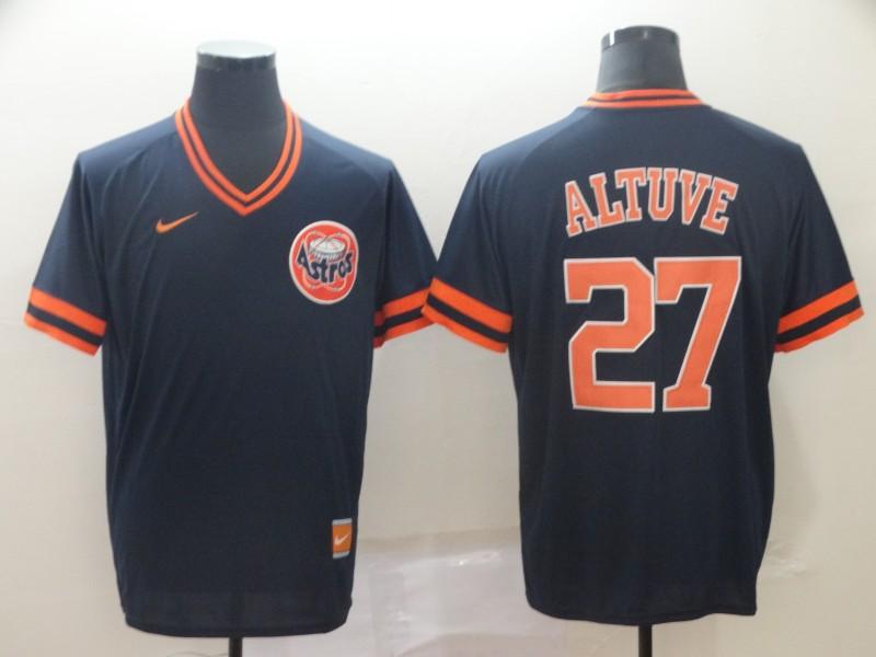 Astros 27 Jose Altuve Navy Throwback Jersey