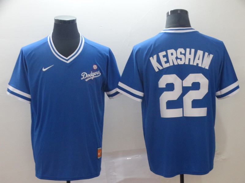 Dodgers 22 Clayton Kershaw Blue Throwback Jersey