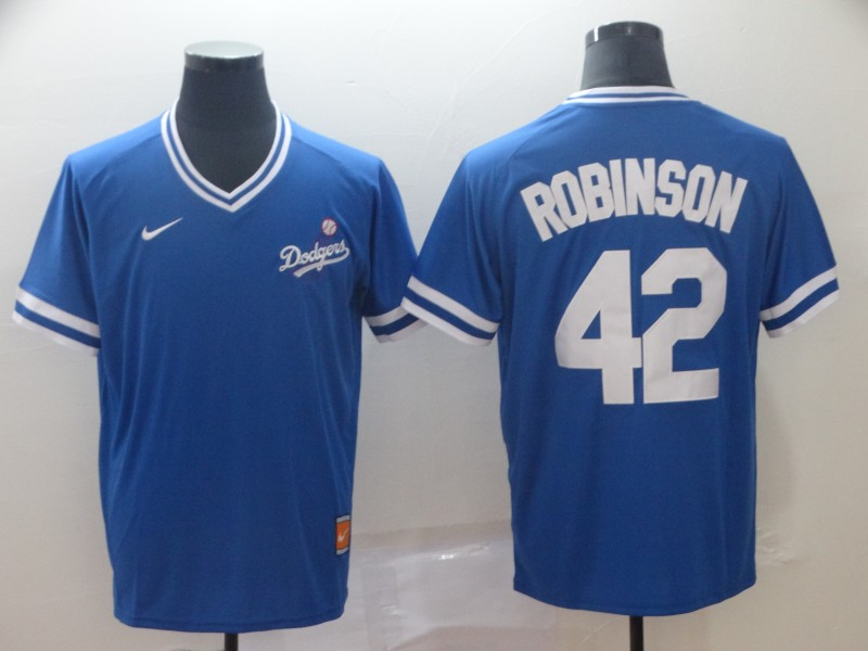 Dodgers 42 Jackie Robinson Blue Throwback Jersey