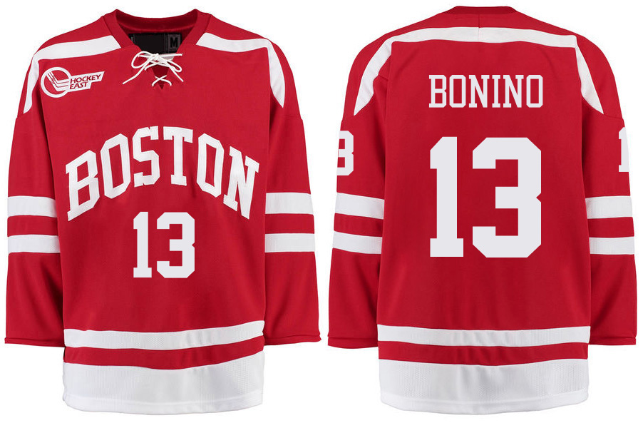 Boston University Terriers BU 13 Nick Bonino Red Stitched Hockey Jersey