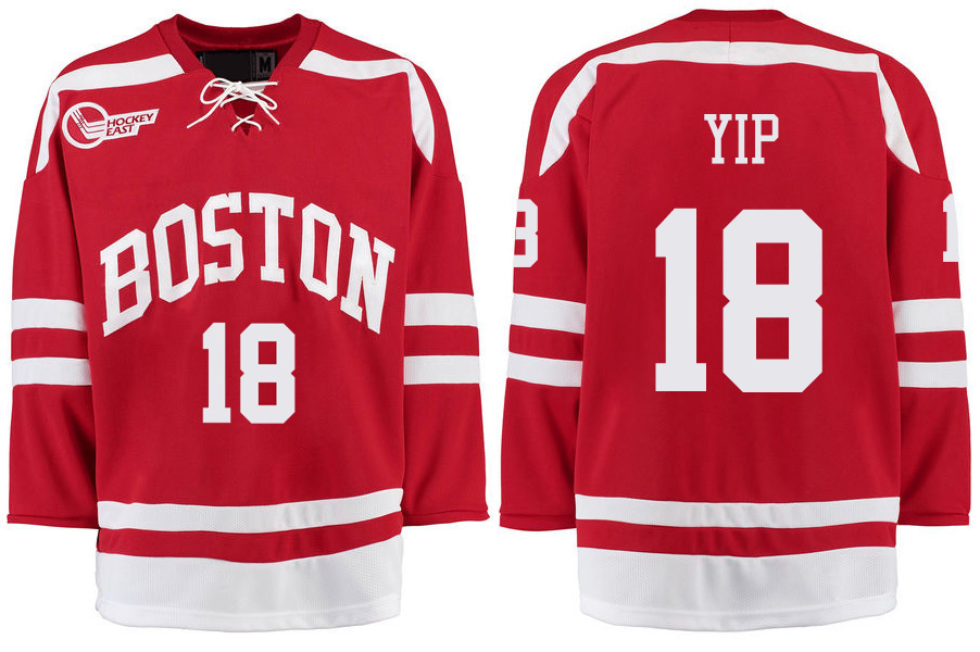 Boston University Terriers BU 18 Brandon Yip Red Stitched Hockey Jersey