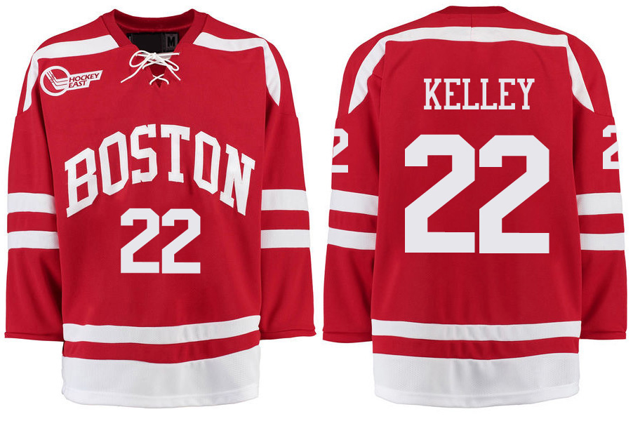 Boston University Terriers BU 22 Tommy Kelley Red Stitched Hockey Jersey