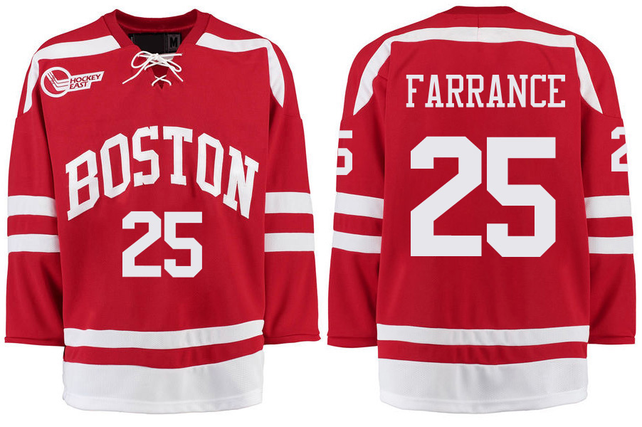 Boston University Terriers BU 25 David Farrance Red Stitched Hockey Jersey