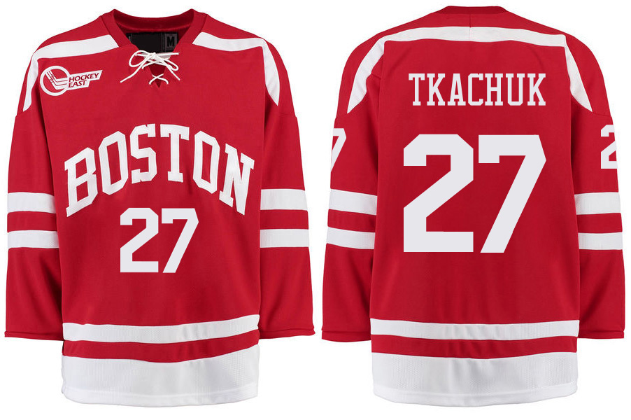 Boston University Terriers BU 27 Brady Tkachuk Red Stitched Hockey Jersey