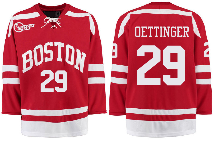 Boston University Terriers BU 29 Jake Oettinger Red Stitched Hockey Jersey
