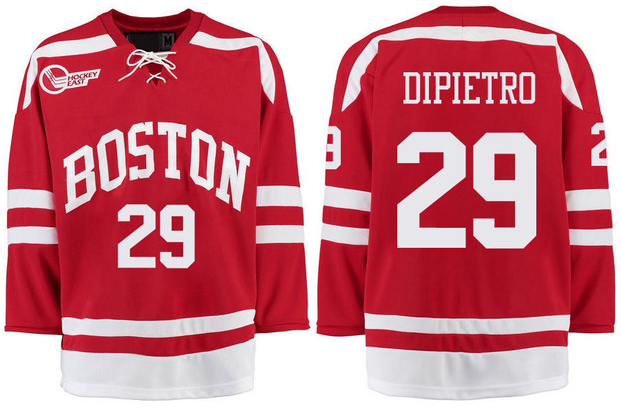 Boston University Terriers BU 29 Rick Dipietro Red Stitched Hockey Jersey