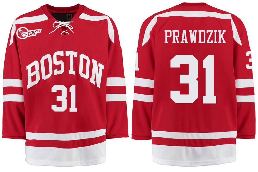 Boston University Terriers BU 31 Max Prawdzik Red Stitched Hockey Jersey