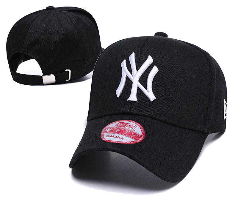 Yankees Team Logo Black Peaked Adjustable Hat YD