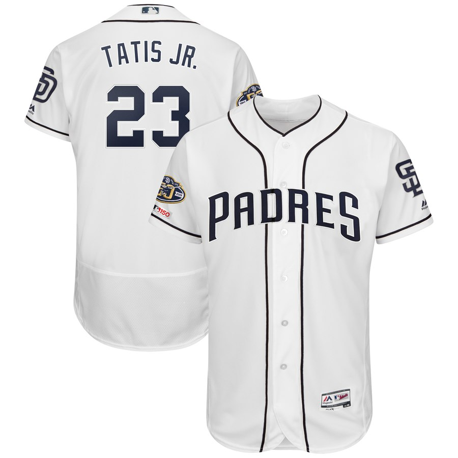 Padres 23 Fernando Tatis Jr. White 50th Anniversary and 150th Patch FlexBase Jersey