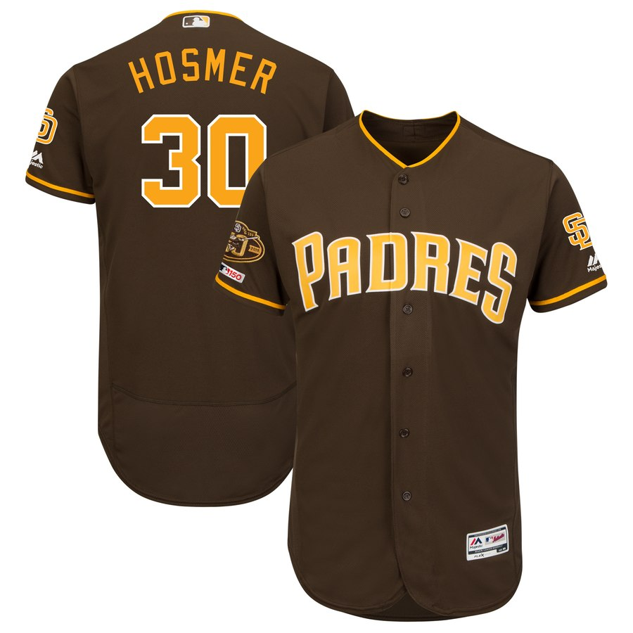 Padres 30 Eric Hosmer Brown 50th Anniversary and 150th Patch FlexBase Jersey