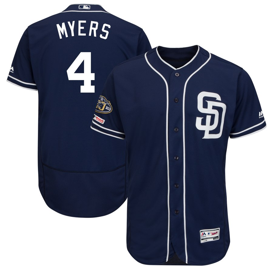 Padres 4 Wil Meyers Navy 50th Anniversary and 150th Patch FlexBase Jersey