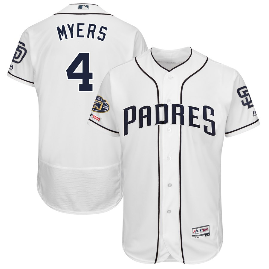 Padres 4 Wil Meyers White 50th Anniversary and 150th Patch FlexBase Jersey