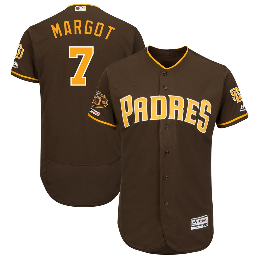 Padres 7 Manuel Margot Brown 50th Anniversary and 150th Patch FlexBase Jersey