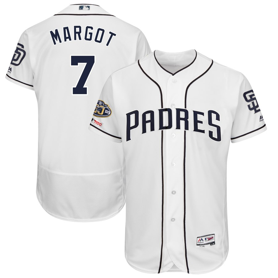 Padres 7 Manuel Margot White 50th Anniversary and 150th Patch FlexBase Jersey