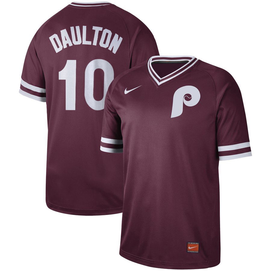 Phillies 10 Darren Daulton Red Throwback Jersey