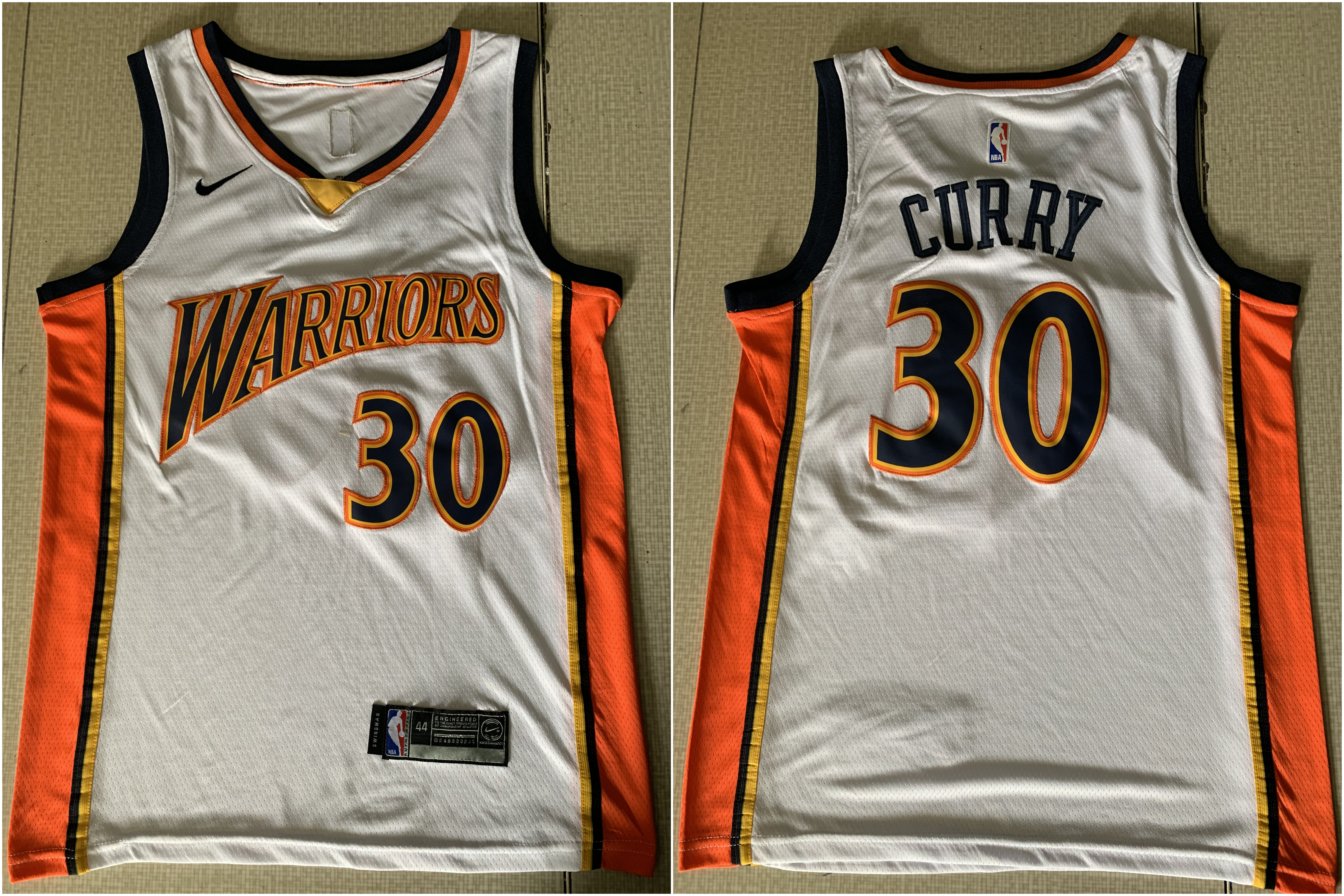 acfd310cd7b Warriors 30 Stephen Curry White Nike Swingman Jersey