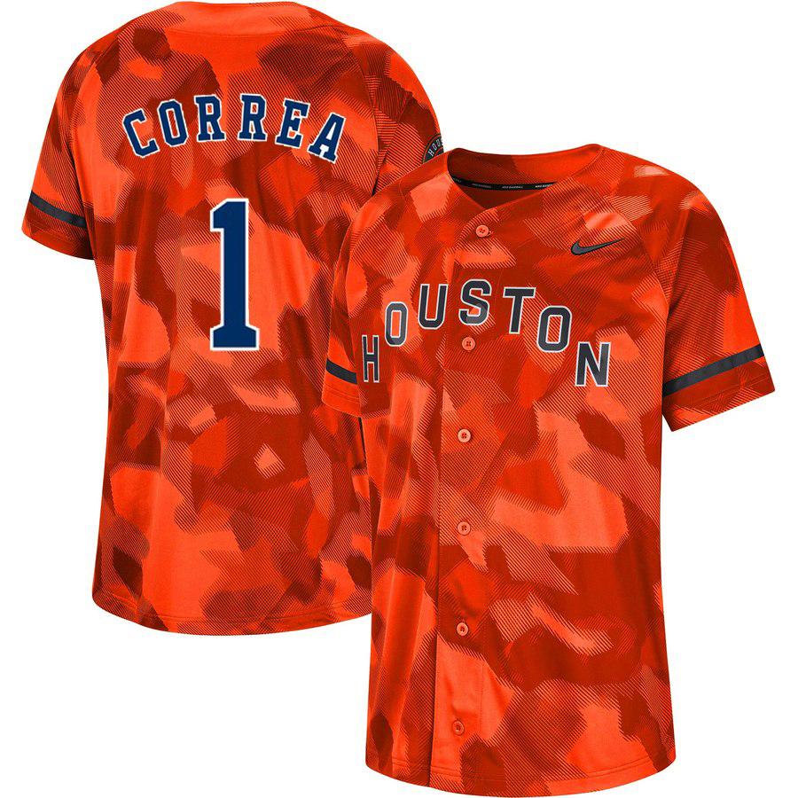 Astros 1 Carlos Correa Orange Camo Fashion Jersey