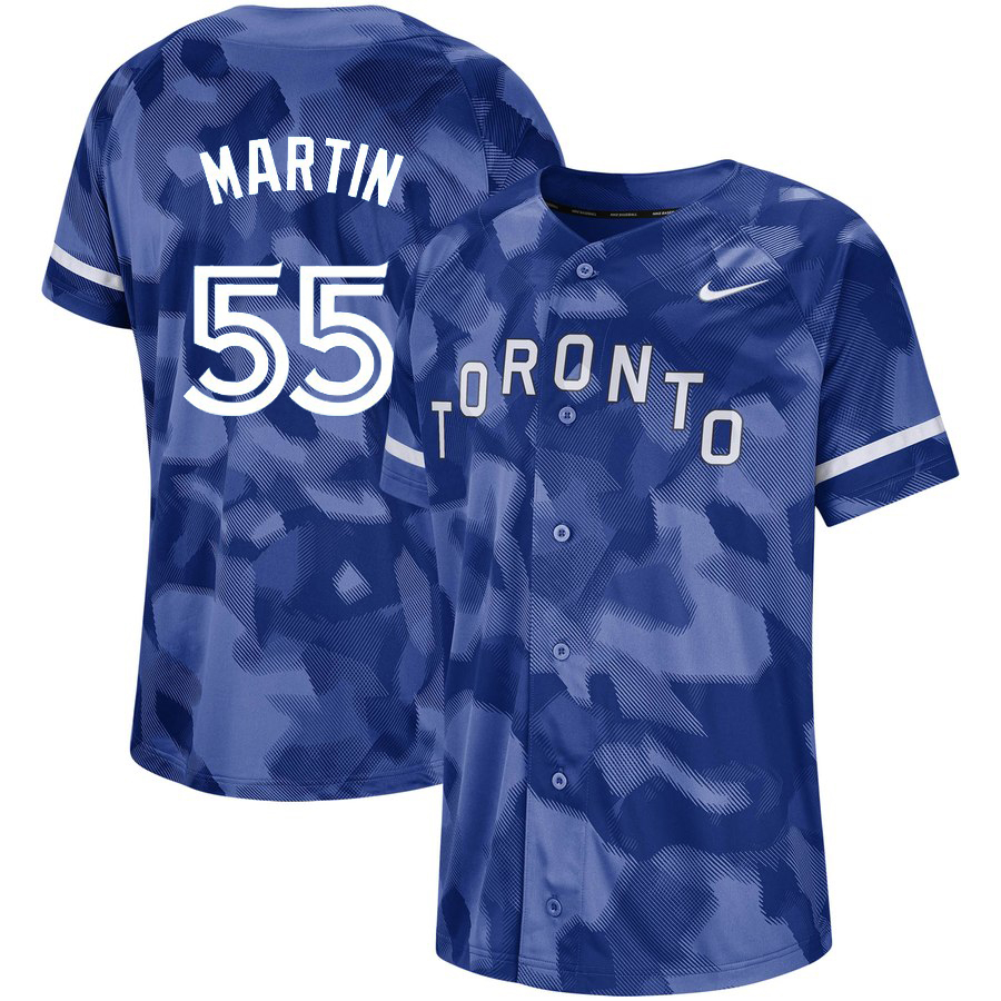Blue Jays 55 Russell Martin Royal Camo Fashion Jersey