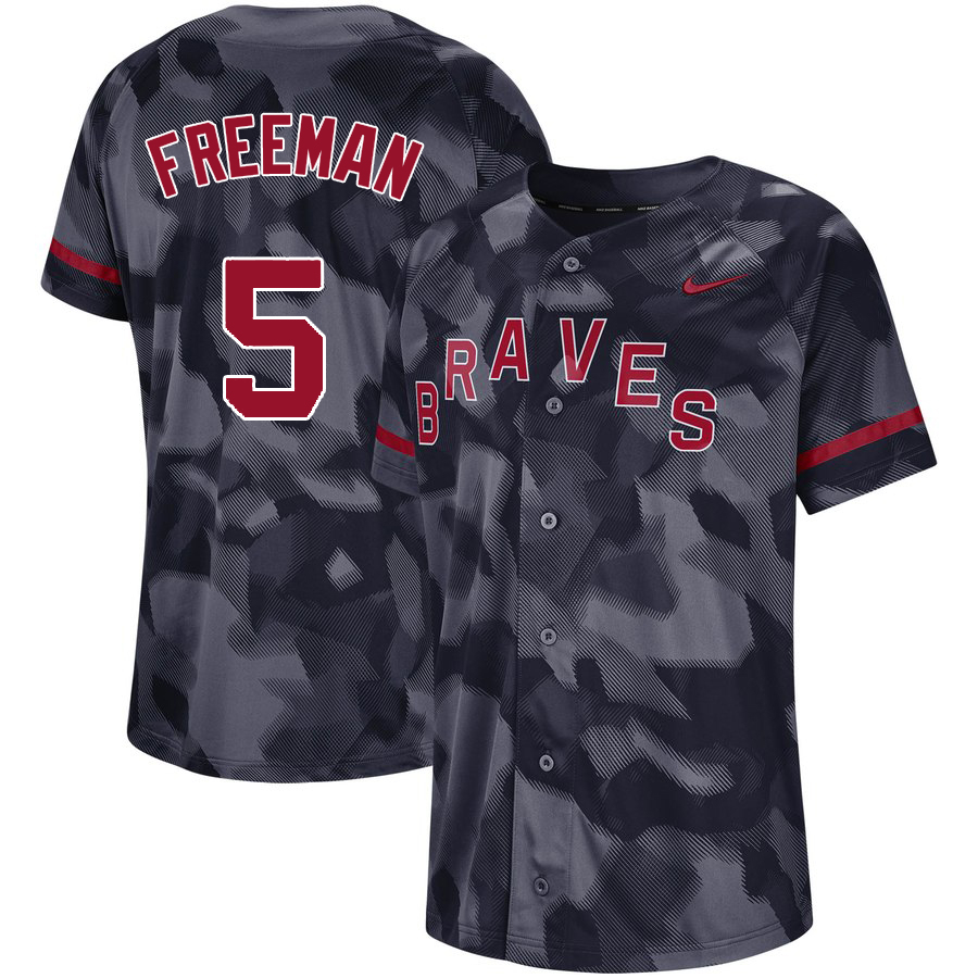 Braves 5 Freddie Freeman Black Camo Fashion Jersey