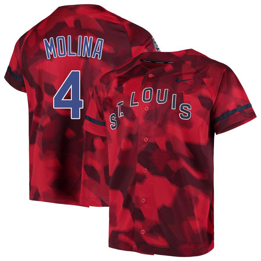 Cardinals 4 Yadier Molina Red Camo Fashion Jersey