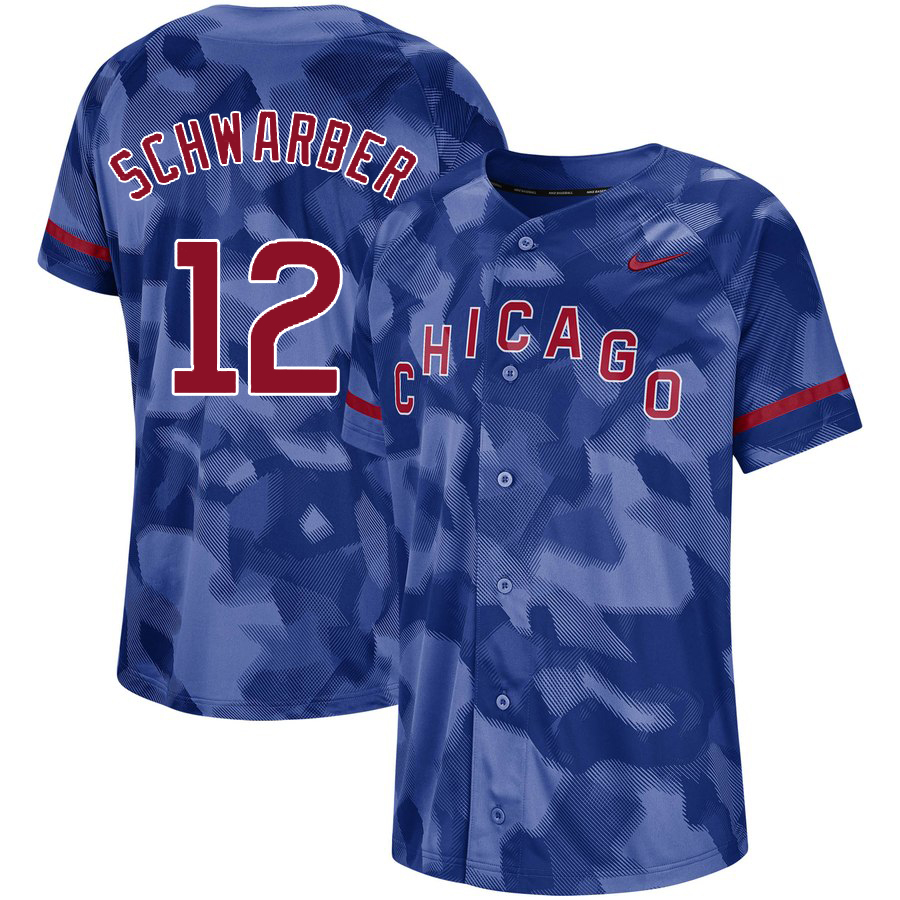 Cubs 12 Kyle Schwarber Royal Camo Fashion Jersey