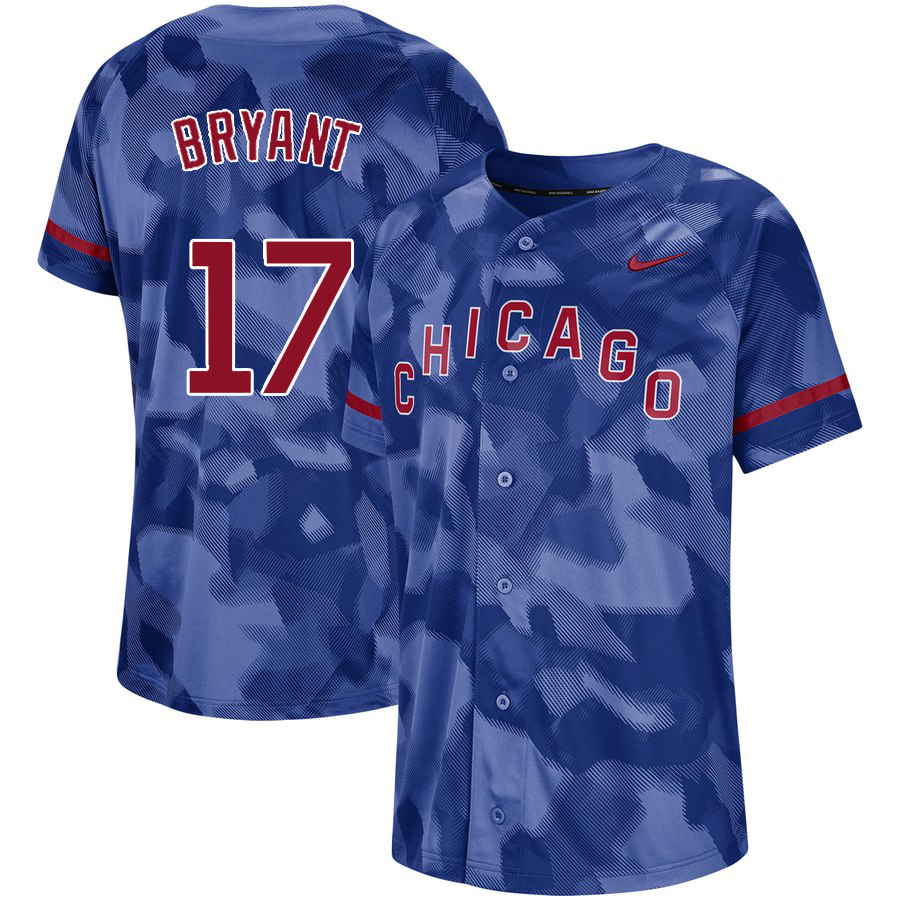 Cubs 17 Kris Bryant Royal Camo Fashion Jersey