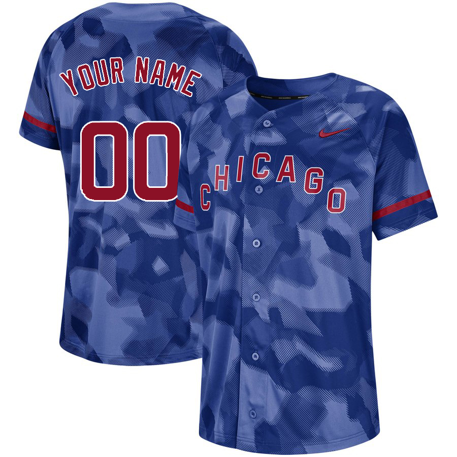 Cubs Royal Camo Fashion Men's Customized Jersey