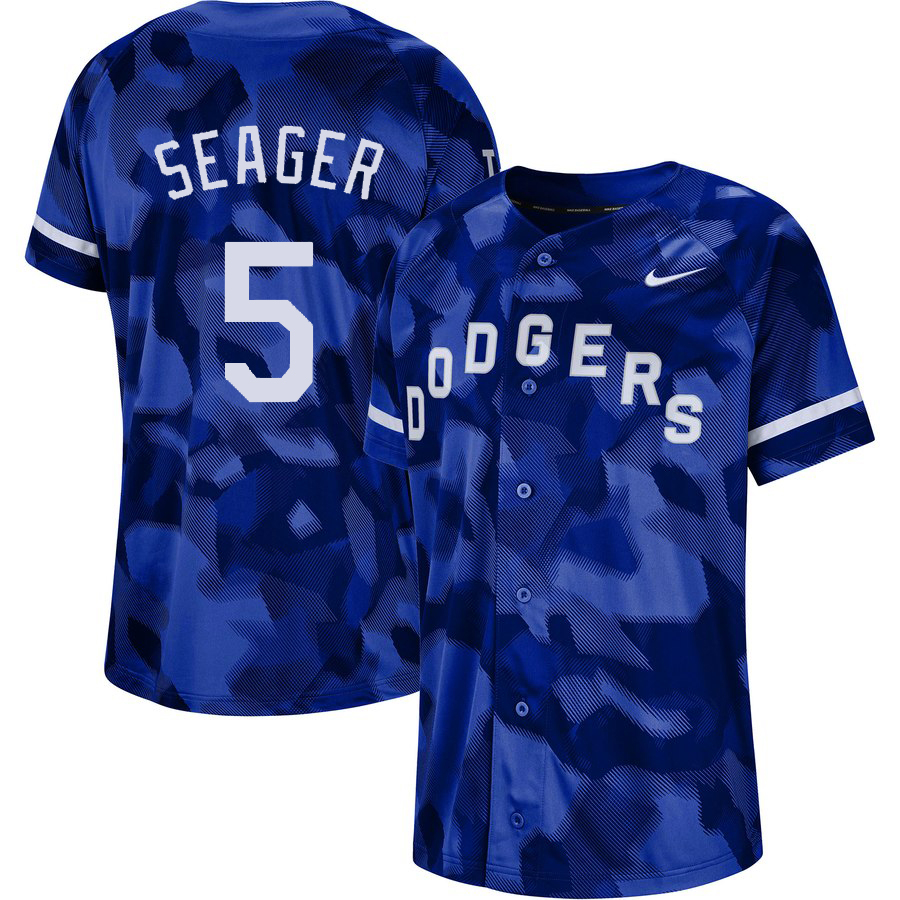 Dodgers 5 Corey Seager Royal Camo Fashion Jersey