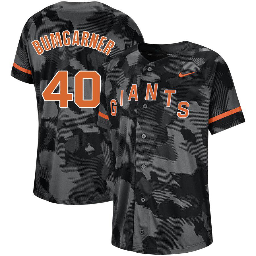 Giants 40 Madison Bumgarner Black Camo Fashion Jersey