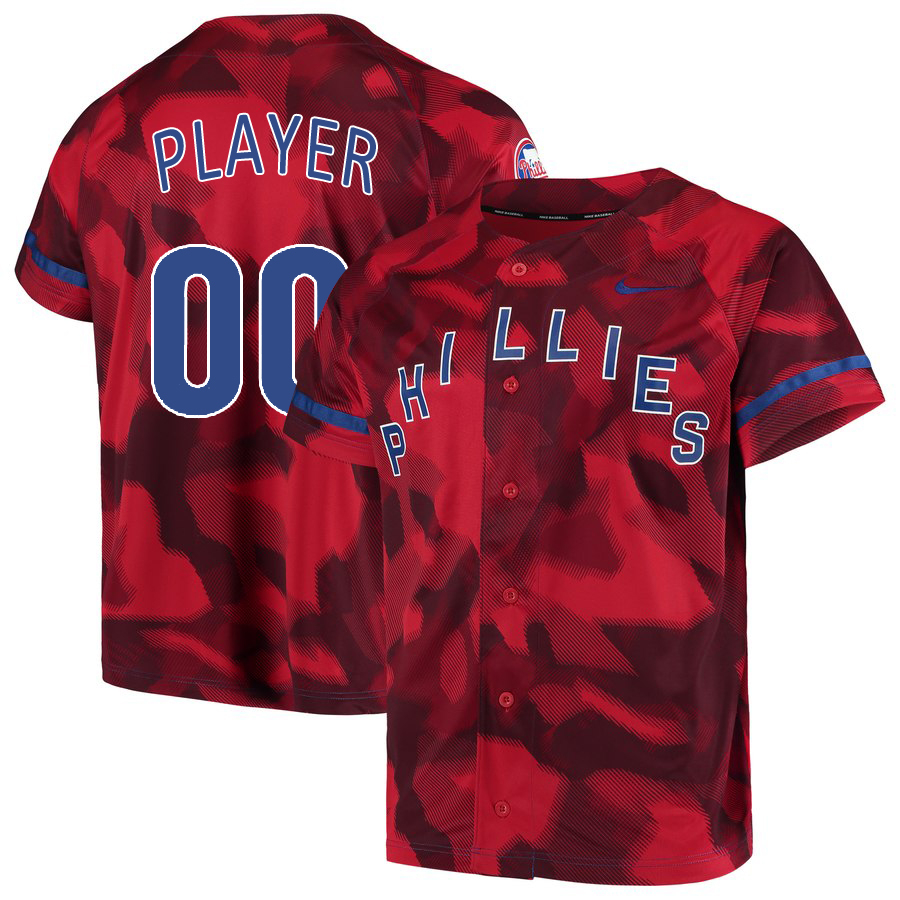 Phillies Red Camo Fashion Men's Customized Jersey