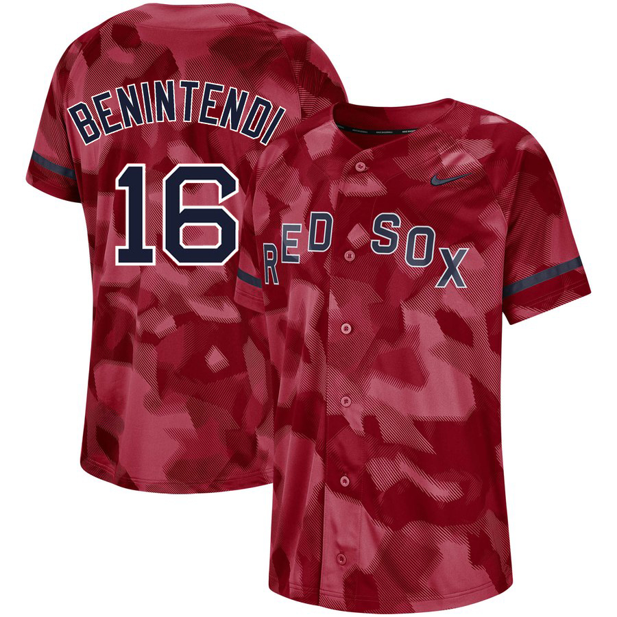 Red Sox 16 Andrew Benintendi Red Camo Fashion Jersey