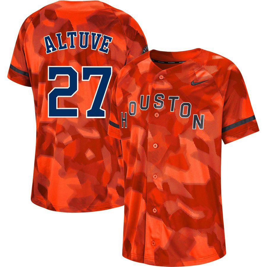 Astros 27 Jose Altuve Orange Camo Fashion Jersey