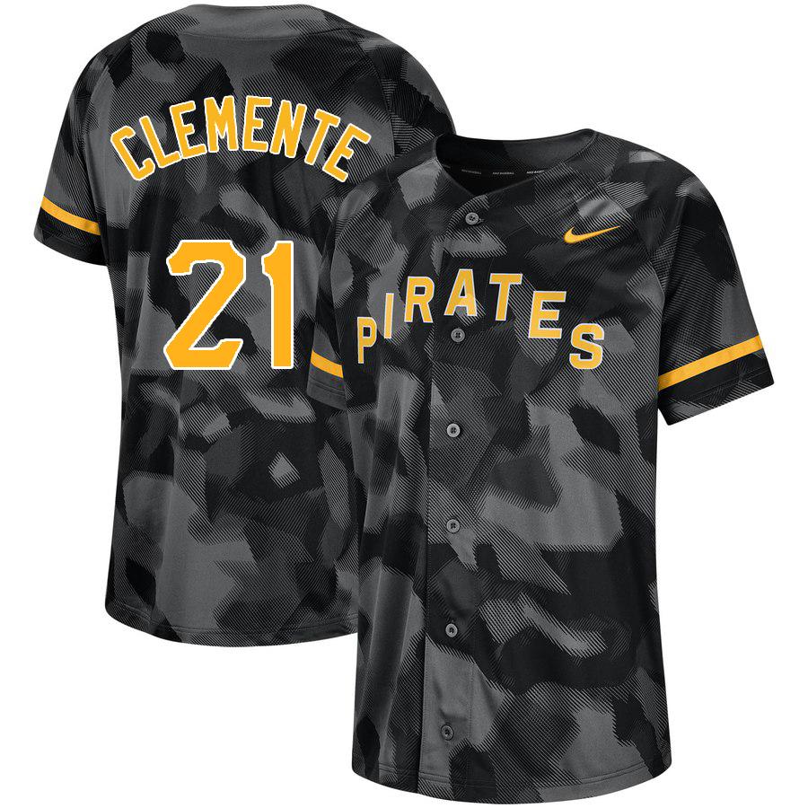 Pirates 21 Roberto Clemente Black Camo Fashion Jersey