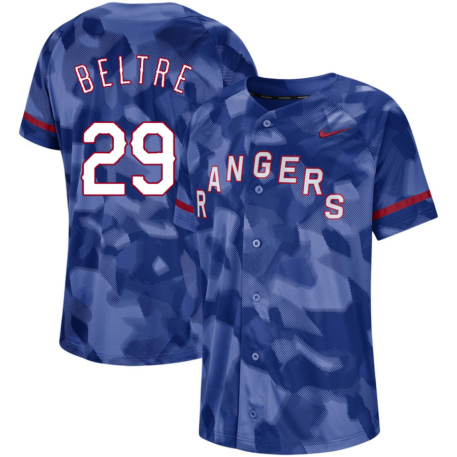 Rangers 29 Adrian Beltre Royal Camo Fashion Jersey